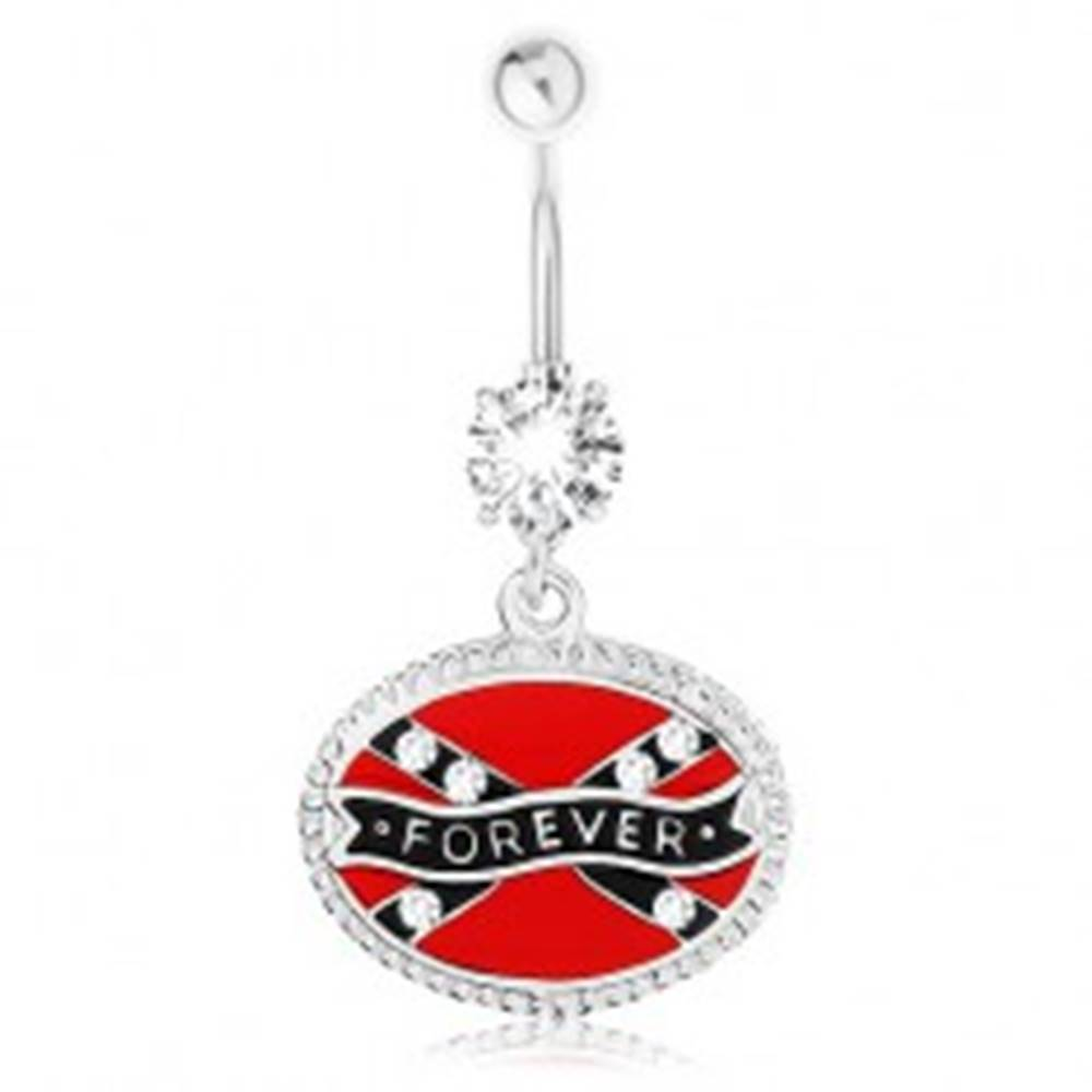 Šperky eshop Piercing do brucha, chirurgická oceľ, ovál, konfederačná vlajka, nápis