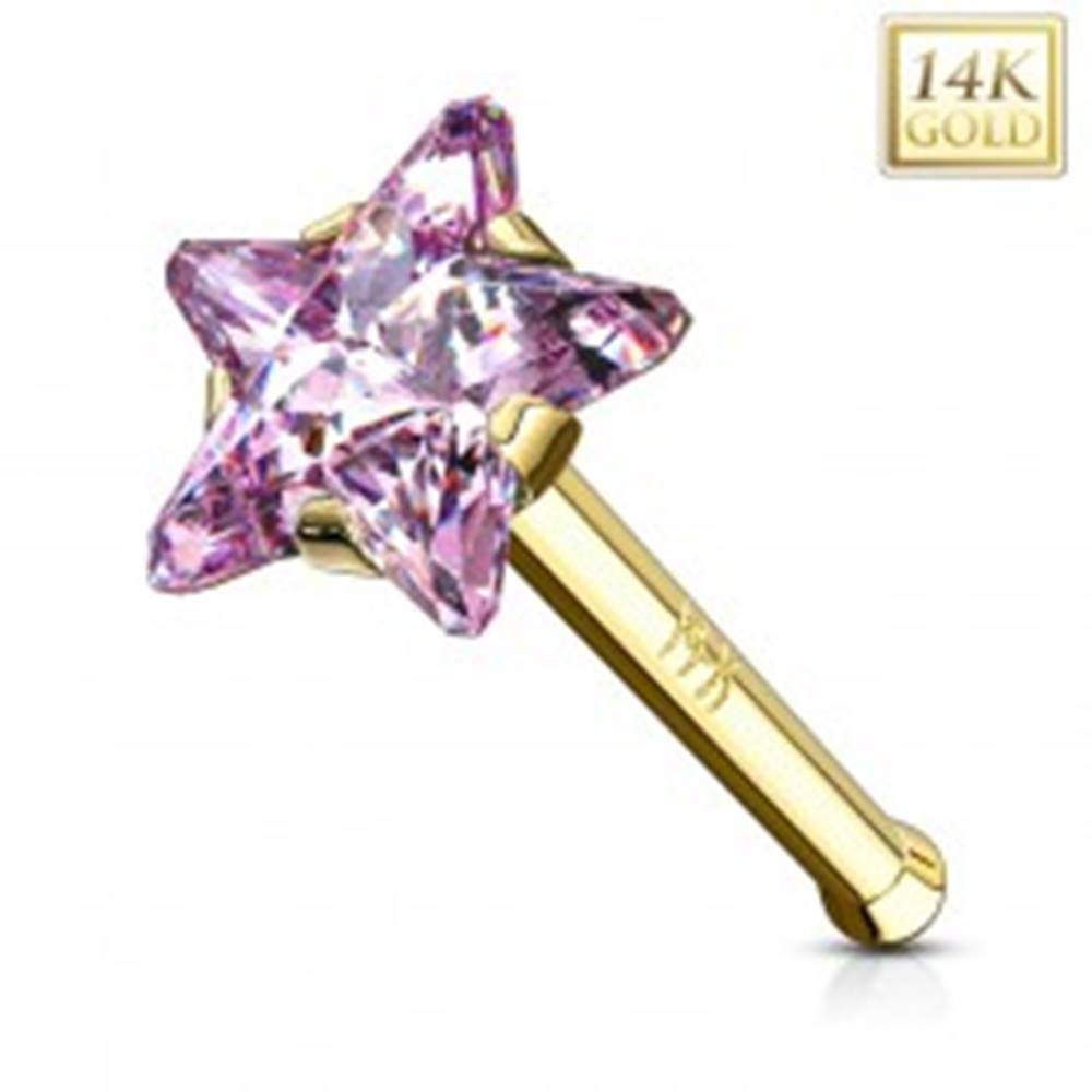 Šperky eshop Piercing do nosa v žltom zlate 585 - rovný tvar, ružová zirkónová hviezda
