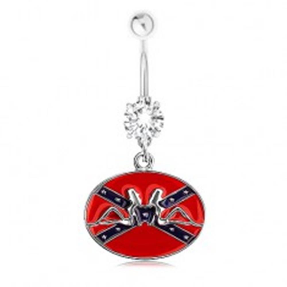 Šperky eshop Piercing do pupka, oceľ 316L, zirkón, konfederačná vlajka, ženské siluety