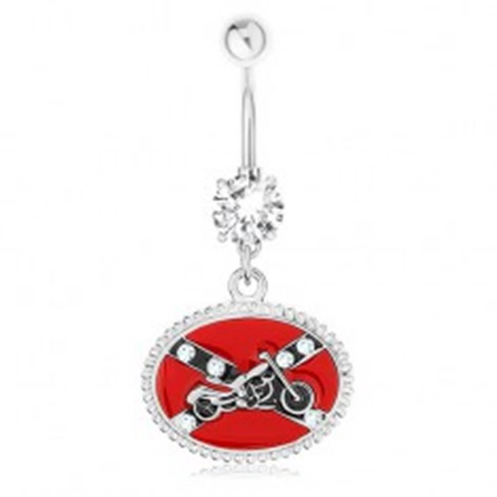 Šperky eshop Piercing do pupku, oceľ 316L, číry zirkón, motív južanskej vlajky, motorka