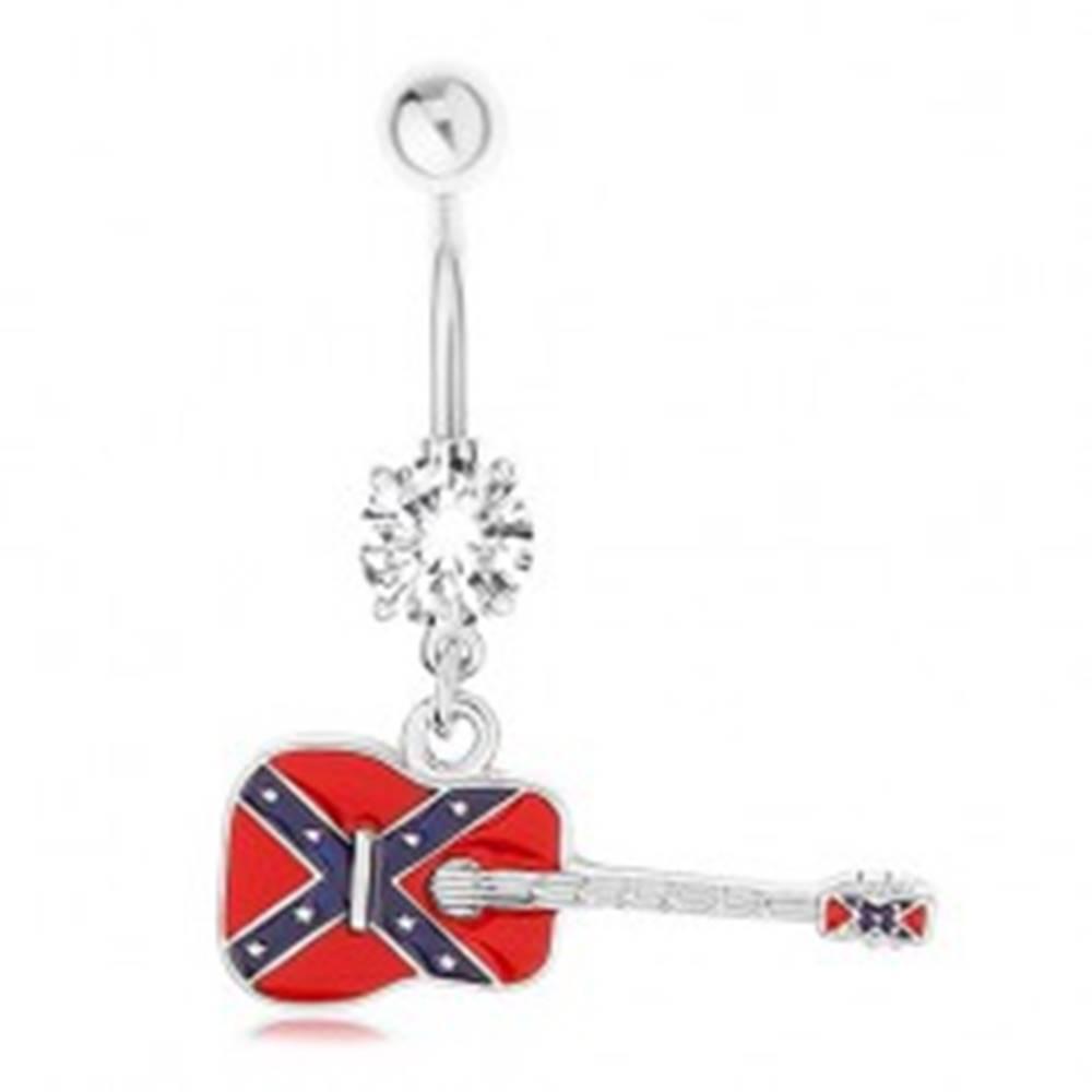 Šperky eshop Piercing do pupku z chirurgickej ocele, gitara s motívom vlajky konfederácie