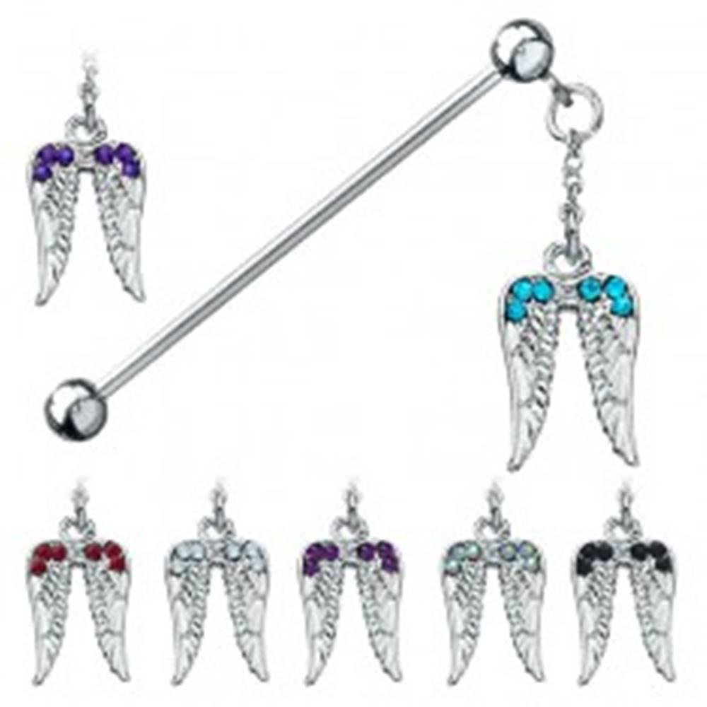 Šperky eshop Piercing do ucha z chirurgickej ocele - anjelské krídla so zirkónmi - Farba zirkónu: Aqua modrá - Q