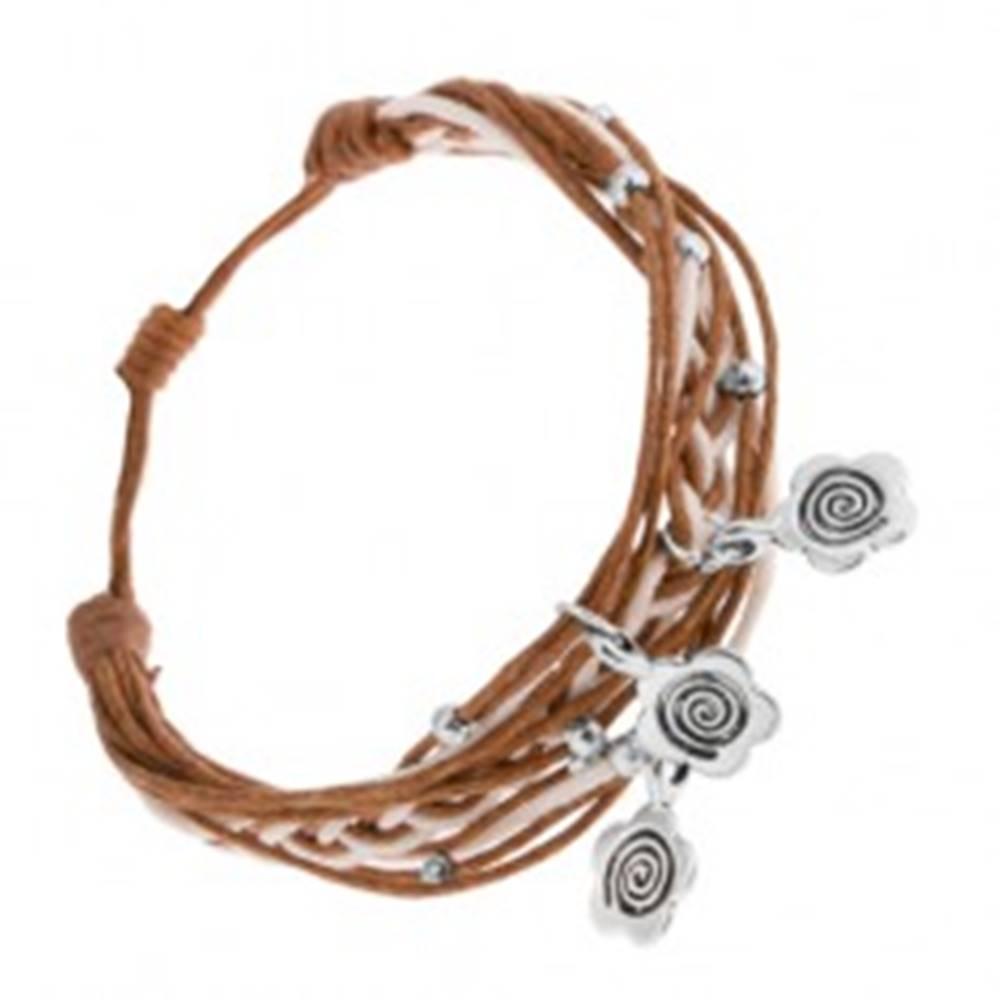 Šperky eshop Pletený náramok zo šnúrok, nastaviteľná dĺžka, prívesky - kvety, špirála