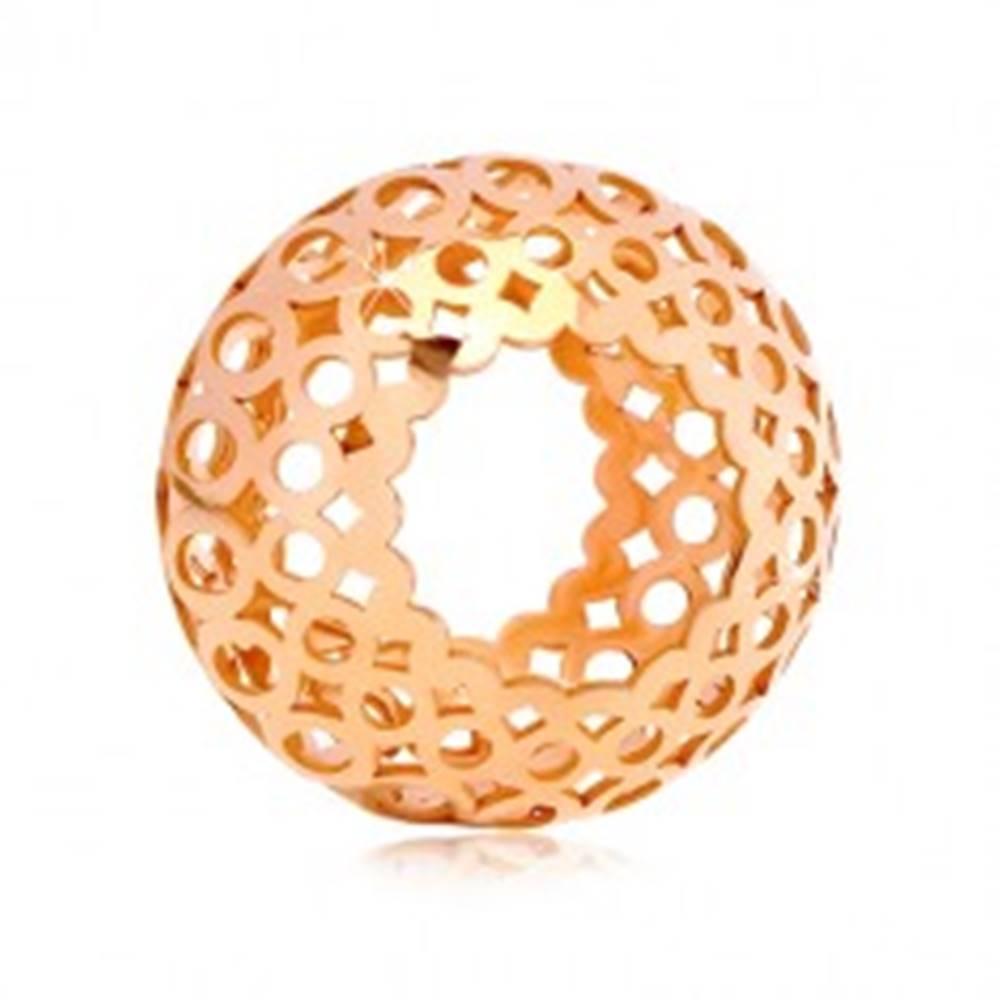 Šperky eshop Prívesok v ružovom 14K zlate - dutý valček s vyrezávanými oválmi a kruhmi