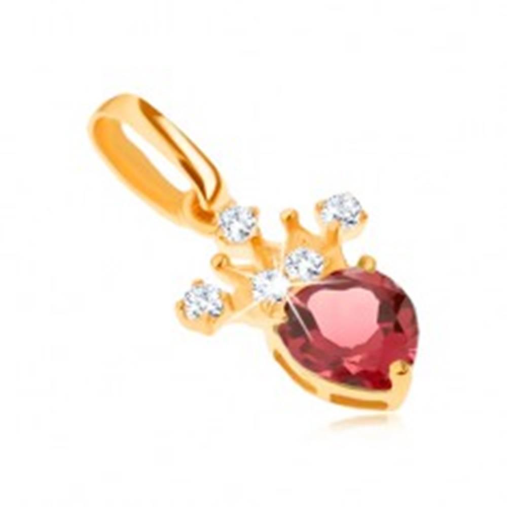 Šperky eshop Prívesok v žltom 14K zlate, zirkónová korunka, červený srdiečkový granát