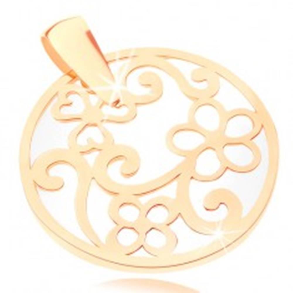 Šperky eshop Prívesok v žltom 9K zlate - kontúra kruhu s ornamentami, perleťový podklad