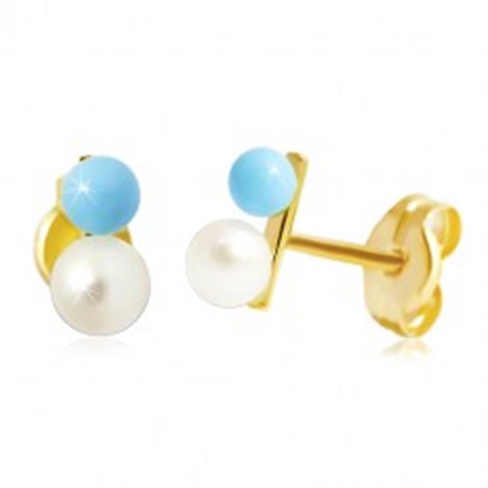 Šperky eshop Puzetové náušnice v žltom 14K zlate - svetlomodrá a biela gulička
