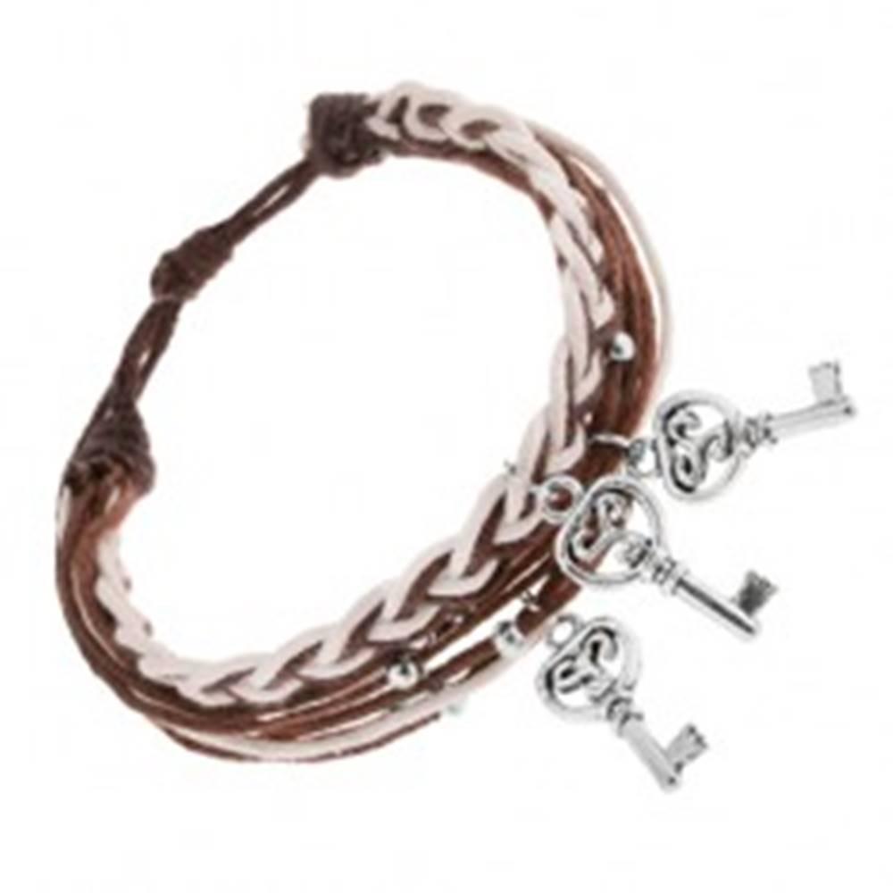 Šperky eshop Šnúrkový náramok, nastaviteľný, hnedé a biele motúziky, oceľový kľúčik
