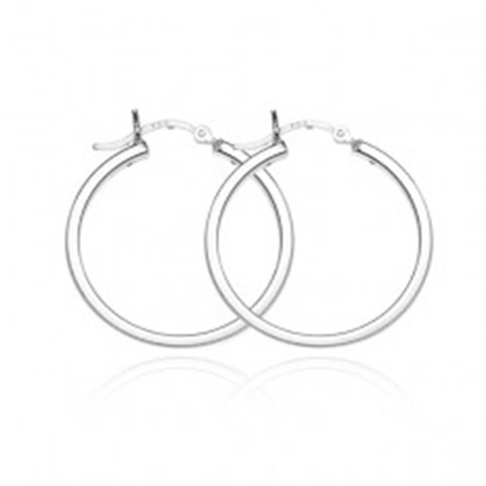 Šperky eshop Strieborné kruhové náušnice 925 - lesklý štvorhranný obvod, 28 mm