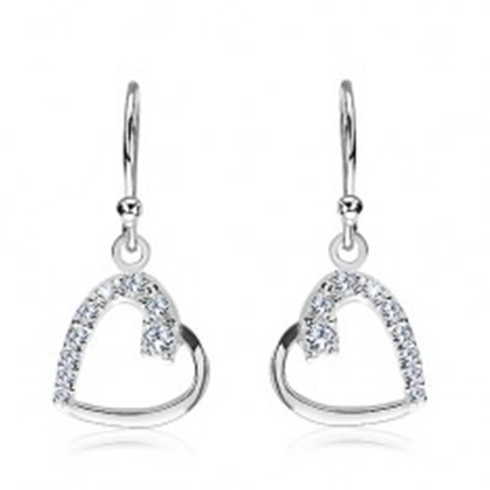 Šperky eshop Strieborné náušnice 925 - línia srdca so zirkónmi, bočné uchytenie