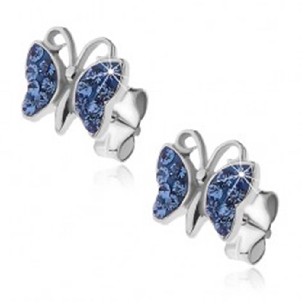 Šperky eshop Strieborné náušnice 925 - motýlik s modrými zirkónmi