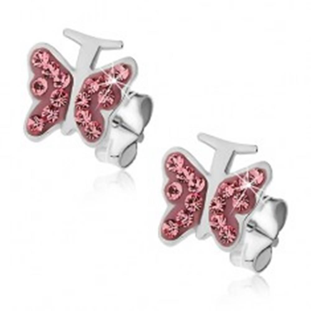 Šperky eshop Strieborné náušnice 925 - ružový motýlik so zirkónmi