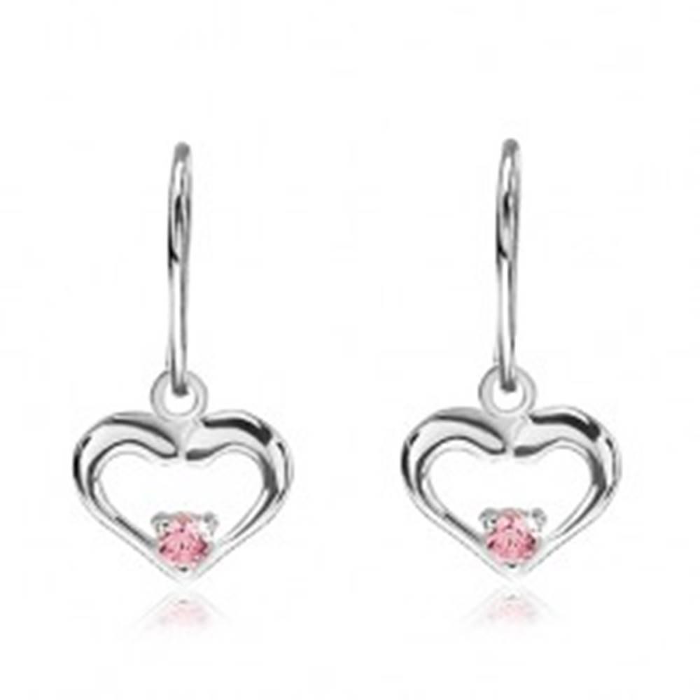 Šperky eshop Strieborné náušnice 925 - visiace srdcia s ružovým zirkónom v strede