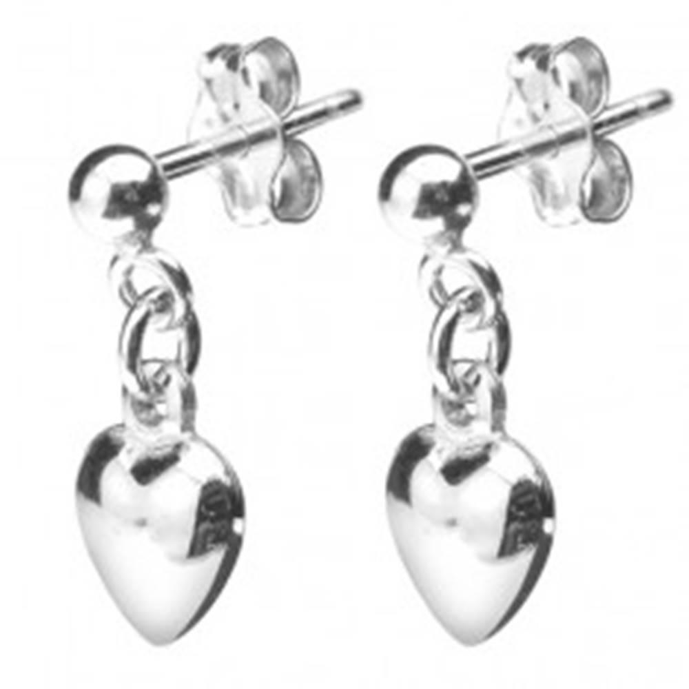 Šperky eshop Strieborné puzetové náušnice 925 - visiace plné srdiečko