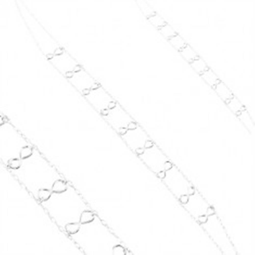 Šperky eshop Strieborný 925 náhrdelník, dvojitá retiazka, lesklé symboly nekonečna