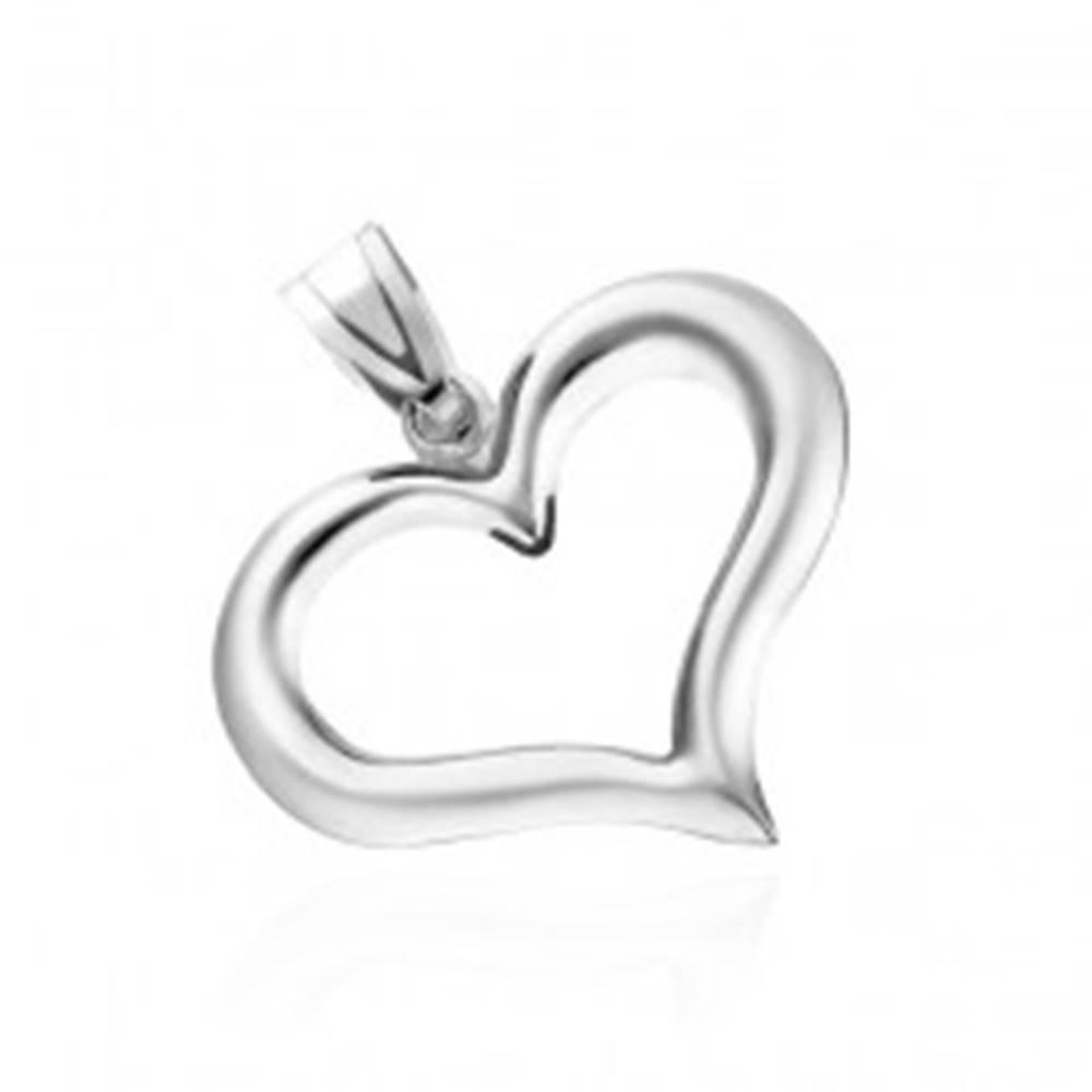 Šperky eshop Strieborný prívesok 925 - nepravidelná silueta srdca