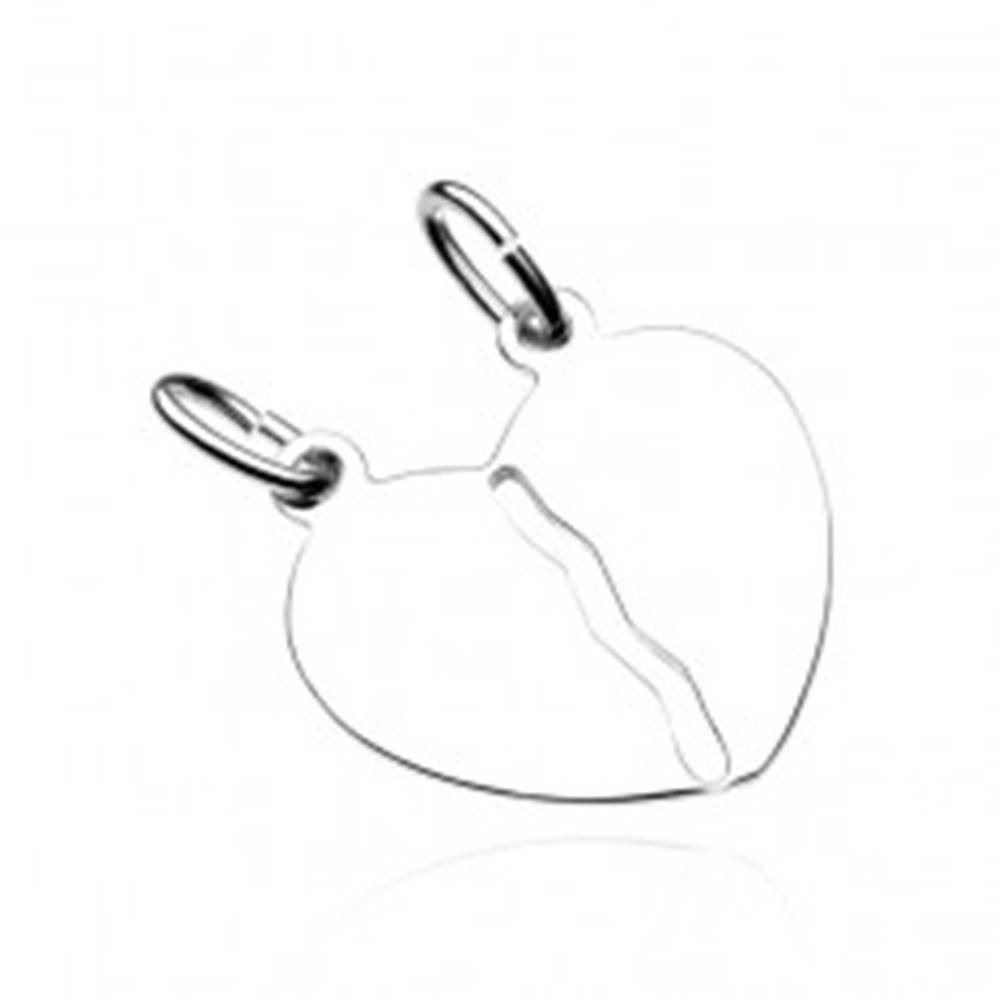 Šperky eshop Strieborný prívesok 925 pre dvojicu - hladké prelomené srdce