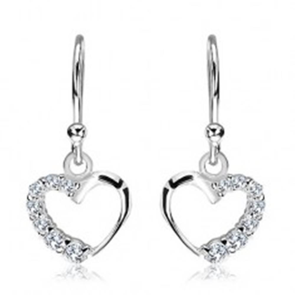 Šperky eshop Visiace náušnice zo striebra 925 - obrysové srdce so zirkónmi, uchytenie v strede