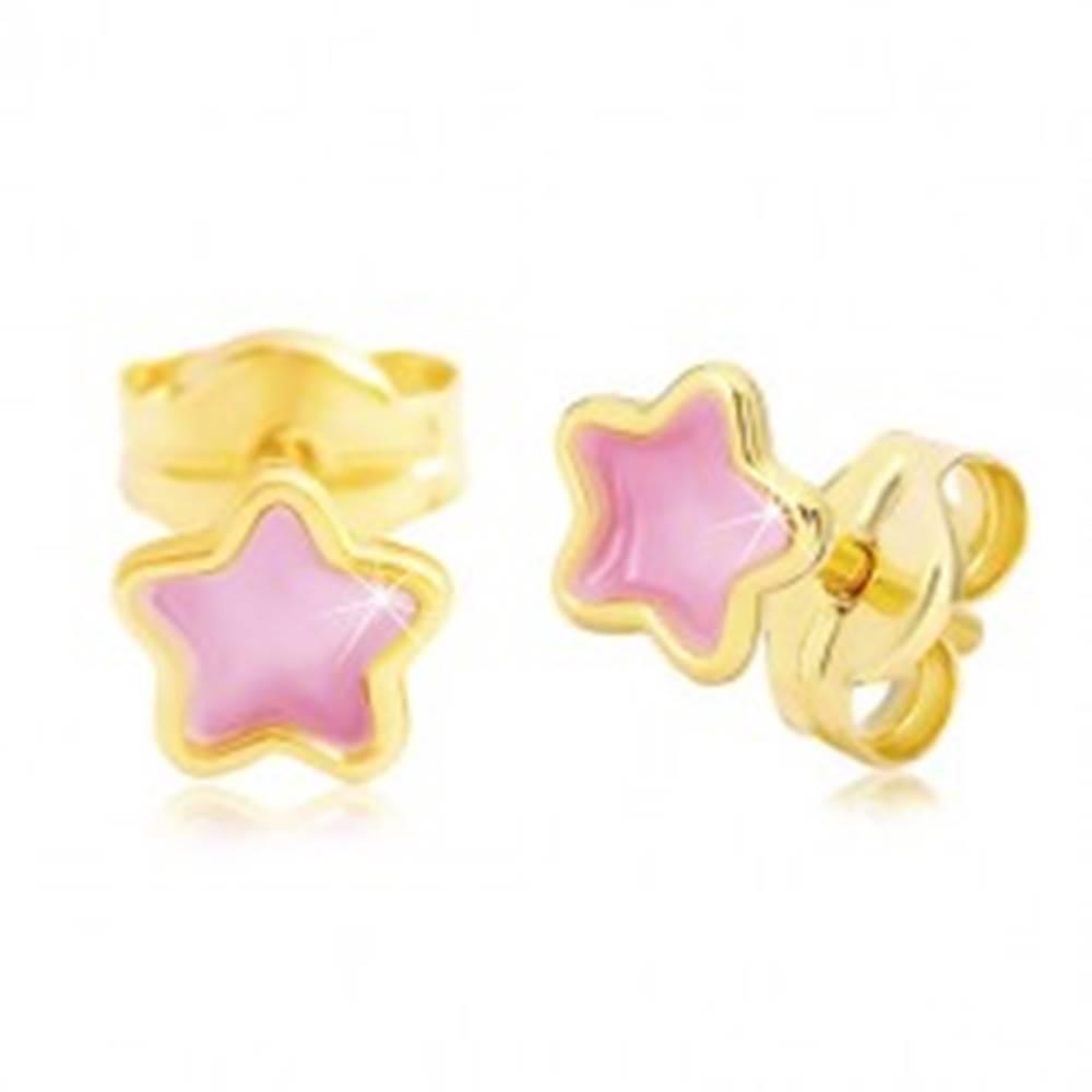 Šperky eshop Zlaté 14K náušnice, kvietok zdobený ružovou glazúrou, puzetky
