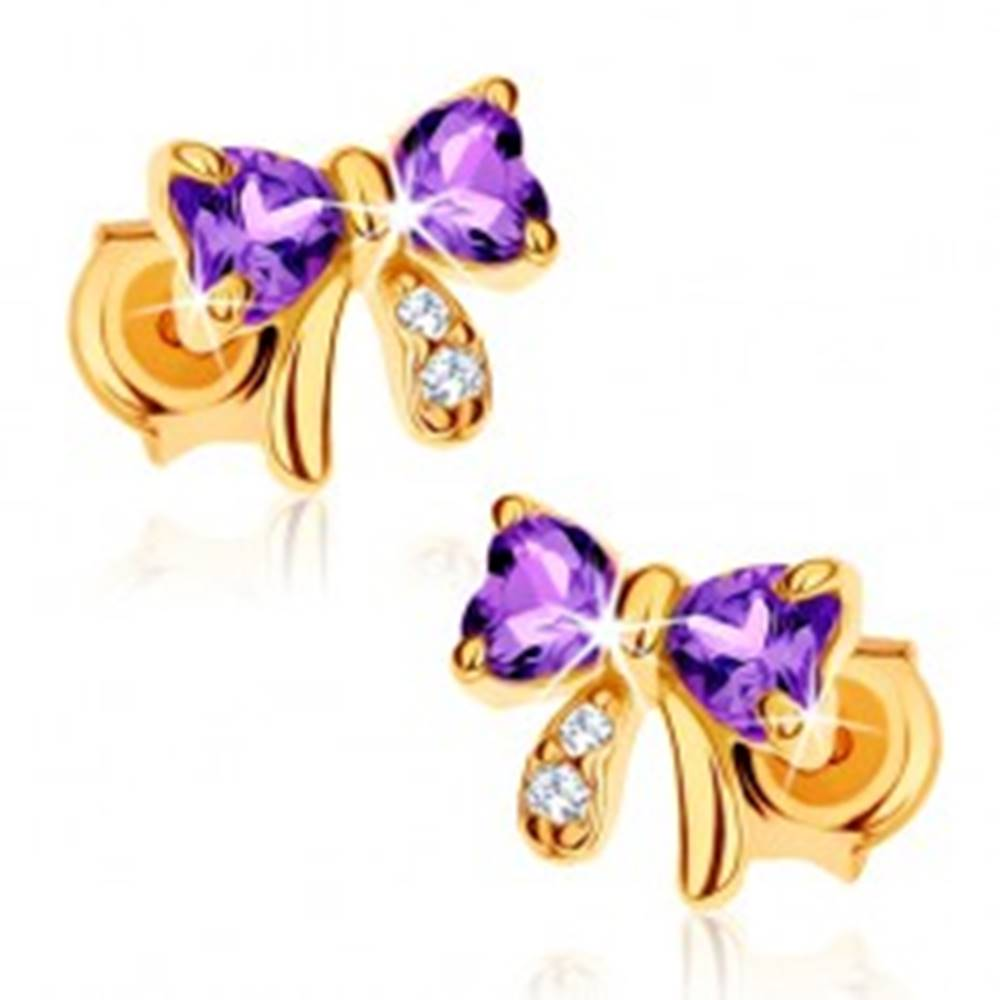 Šperky eshop Zlaté náušnice 585 - mašlička z fialového ametystu, číre zirkóniky
