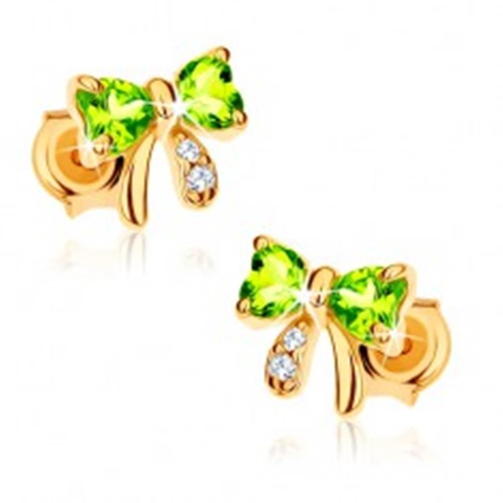 Šperky eshop Zlaté puzetové náušnice 585 - svetlozelená olivínová mašlička