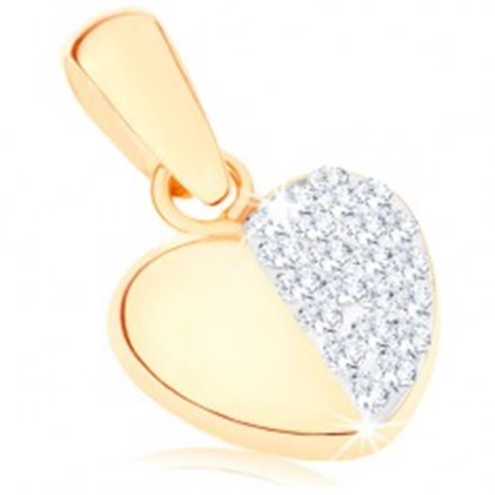 Šperky eshop Zlatý prívesok 375 - súmerné srdiečko, hladká a trblietavá polovica