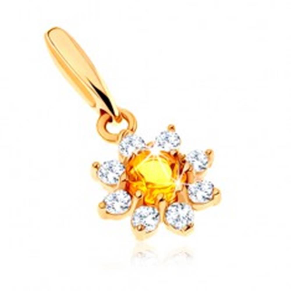 Šperky eshop Zlatý prívesok 585 - rozkvitnutý kvet so žltým citrínom, číre zirkónové lupene