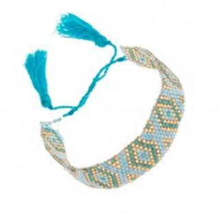 Korálkový náramok s indiánskym motívom, modrá, tyrkysová a zlatá farba
