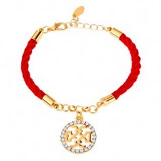 Náramok, červená šnúrka, ornament v zlatej farbe, číre zirkóny, karabínka