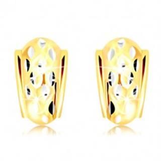 Náušnice v 14K zlate - atypický oblúk so zrniečkami z bieleho zlata