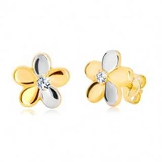 Náušnice z kombinovaného zlata 585 - lesklý dvojfarebný kvet, zirkón