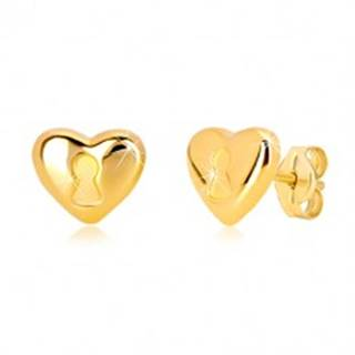 Náušnice zo 14K žltého zlata - srdce s kľúčovou dierkou, puzetové zapínanie