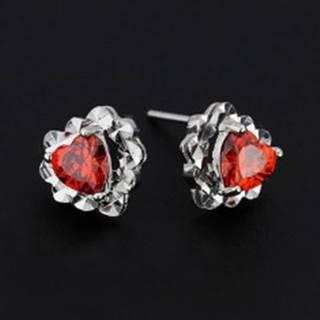Náušnice zo striebra 925 - červené zirkónové srdce, srdcový podklad