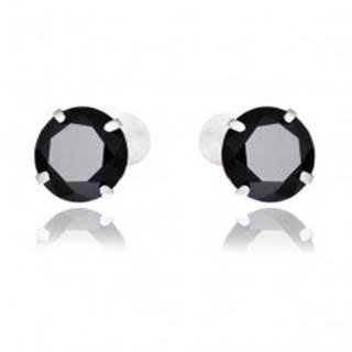 Náušnice zo striebra 925 - okrúhle čierne zirkóny, 7 mm