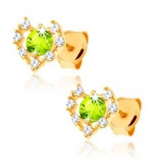 Náušnice zo žltého 14K zlata - číry zirkónový obrys srdca, zelený olivín