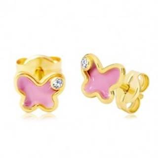 Náušnice zo žltého 14K zlata, motýlik s ružovou glazúrou a zirkónom