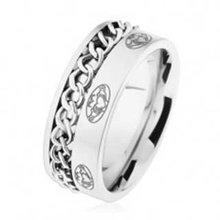 Oceľový prsteň, retiazka, strieborná farba, matný povrch, ornamenty - Veľkosť: 57 mm
