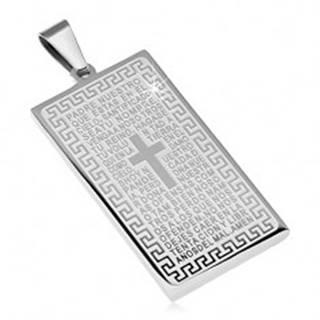 Prívesok z chirurgickej ocele, obdĺžniková známka s modlitbou a krížom