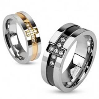Prsteň z ocele so zirkónovým krížom a pásom medenej farby, 6 mm - Veľkosť: 49 mm