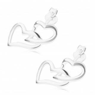 Puzetové náušnice, striebro 925, prepojené obrysy, asymetrické srdcia