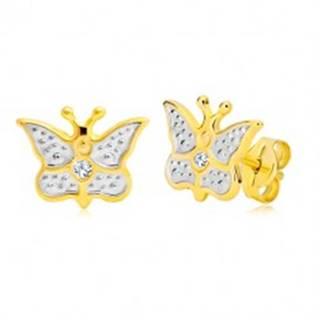 Puzetové náušnice z kombinovaného 14K zlata - vyrezávaný motýlik so zirkónom