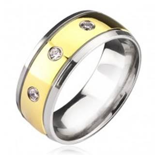 Titánový prsteň - dvojfarebný so zirkónmi - Veľkosť: 57 mm