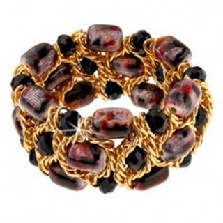 Trblietavý náramok, čierne brúsené guličky, fialovo-čierne korálky, retiazka