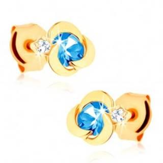 Zlaté náušnice 585 - kvietok s oblými lupeňmi, modrý topásový stred