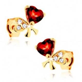 Zlaté náušnice 585 - mašľa z dvoch sŕdc, červený granát, číre zirkóniky