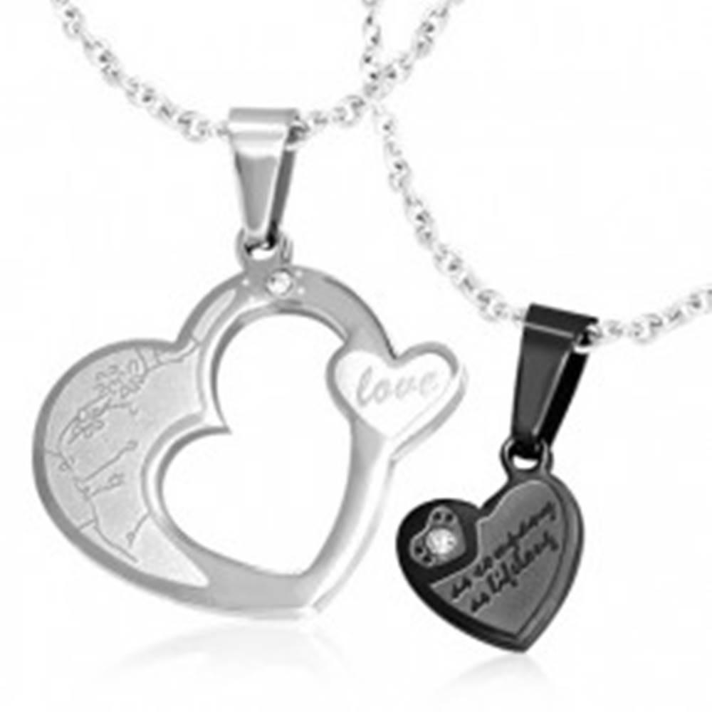 Šperky eshop Dvojitý prívesok pre pár, oceľ 316L - srdcia striebornej a čiernej farby, zirkóny