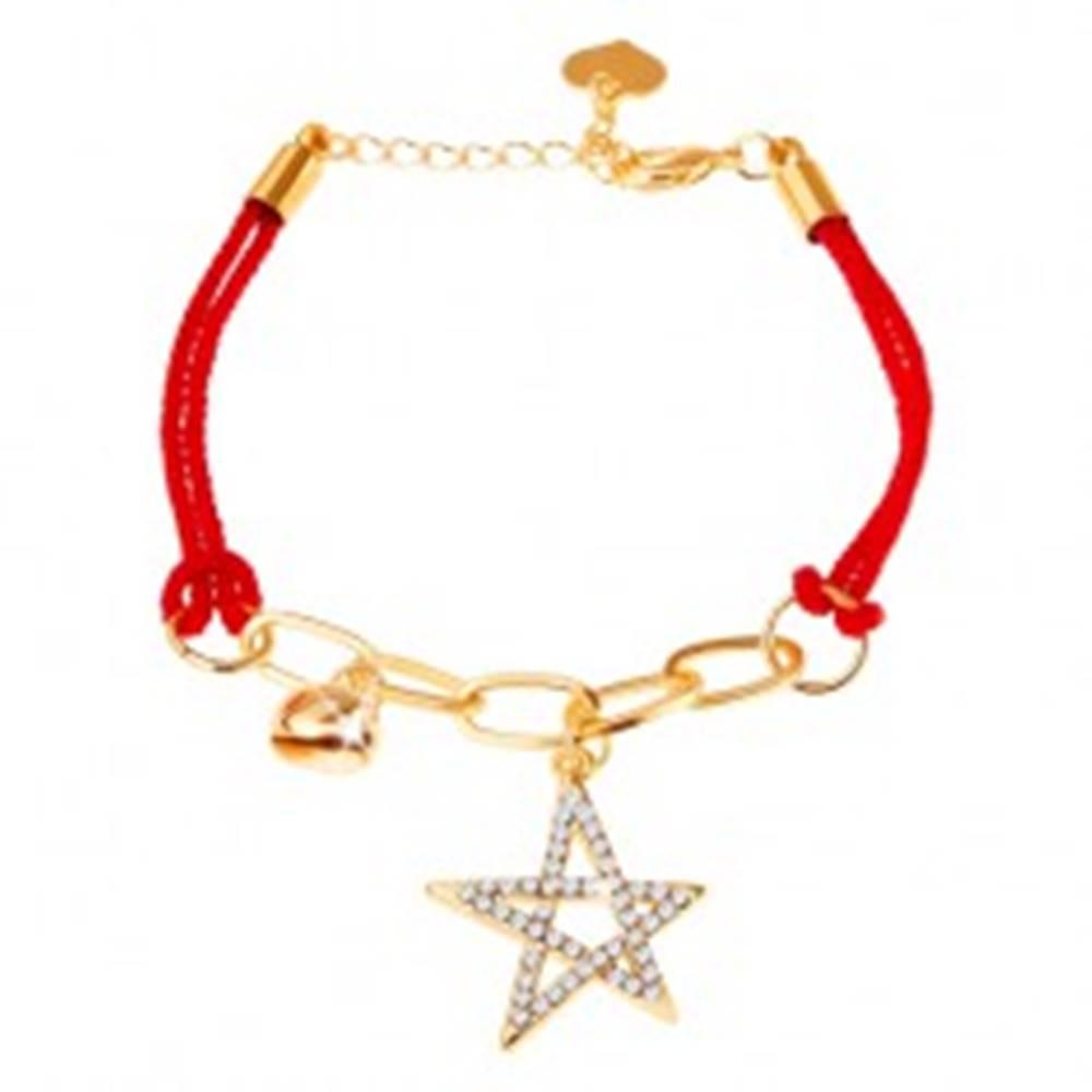 Šperky eshop Náramok zo šnúrok, retiazka, dva prívesky - hviezda, rolnička