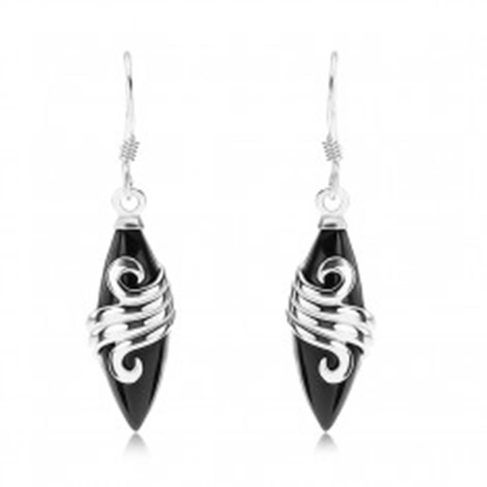 Šperky eshop Náušnice - striebro 925, čierne zrnko, ozdobná trojitá línia, afroháčiky