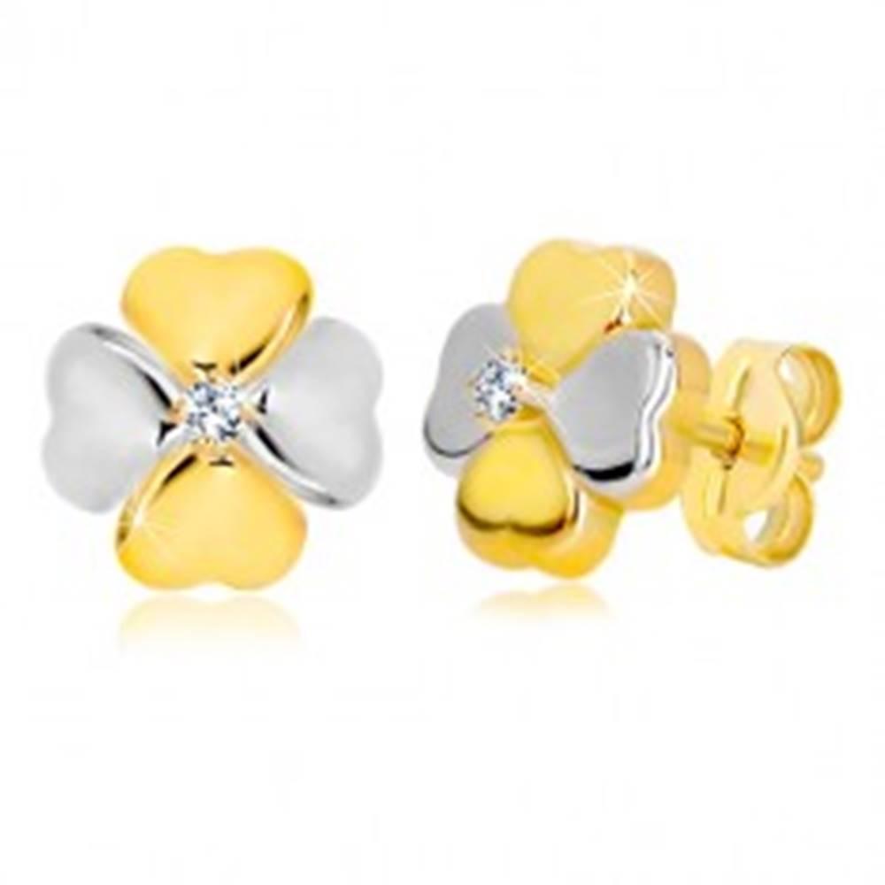 Šperky eshop Náušnice v 14K kombinovanom zlate - symbol šťastia so zirkónom, puzetky
