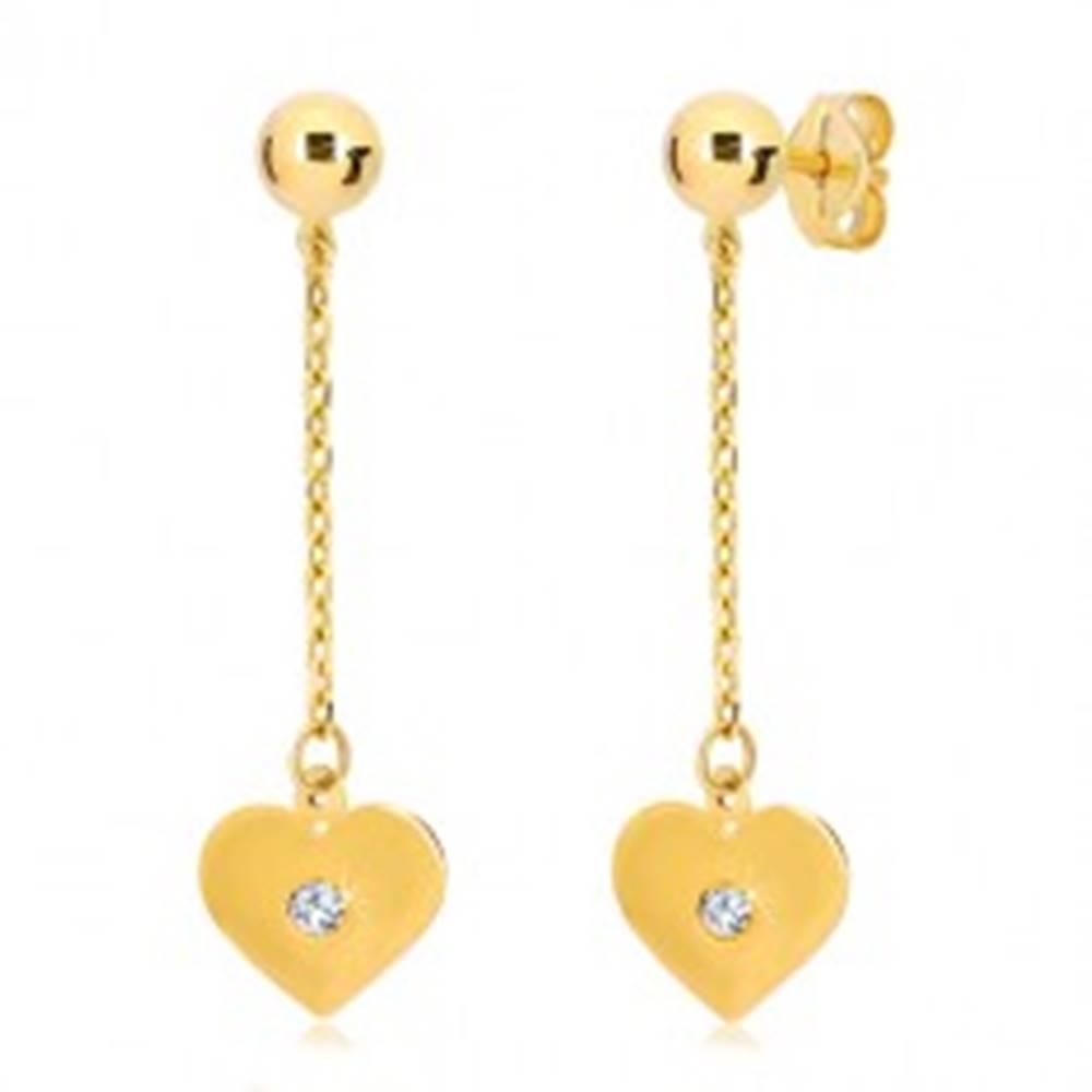 Šperky eshop Náušnice v žltom 14K zlate - ploché srdce visiace na retiazke, zirkón